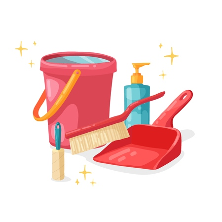 Design banner House cleaning with  cleaning products. Cartoon illustration household chemicals. Temlate for flyer clean up service.  Basket with Goods for home.  Vector. 스톡 콘텐츠 - 121165022