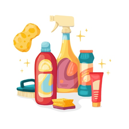 Design banner House cleaning with  cleaning products. Cartoon illustration household chemicals. Temlate for flyer clean up service.  Basket with Goods for home.  Vector. 스톡 콘텐츠 - 121165023