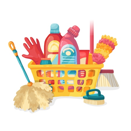 Design banner House cleaning with cleaning products. Cartoon illustration household chemicals. Temlate for flyer clean up service. Basket with Goods for home. Vector. 스톡 콘텐츠 - 121165024