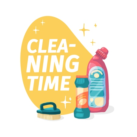 Template banner with chemical battle product for house cleaning. Layout for Cleaning service with household chemicals.  Goods for  home. Plastic bottles for cleaning products. Vector. 스톡 콘텐츠 - 121165025