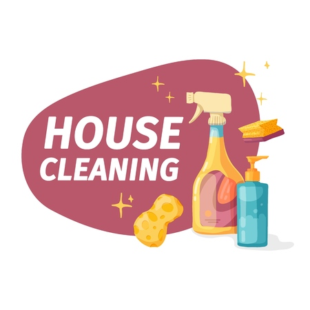 Template banner with chemical battle product for house cleaning. Layout for Cleaning service with household chemicals.  Dishwashing liquid Goods for  home. Vector.