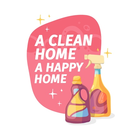 Template banner with chemical battle product for house cleaning. Layout for Cleaning service with household chemicals.  Goods for home. Plastic packing. Vector. 스톡 콘텐츠 - 121165027
