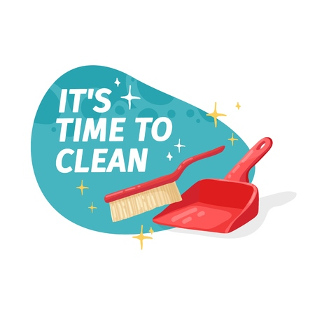 Template banner with for house cleaning. Layout for Cleaning service with household good.  Dustbag with brush. Cleaning supplies. Vector. 스톡 콘텐츠 - 121165029