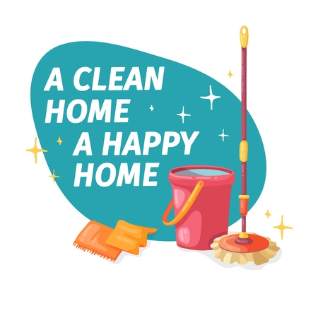 Template banner with mop and bucket  for house cleaning. Layout for Cleaning service with cleaning product for floor. Vector.