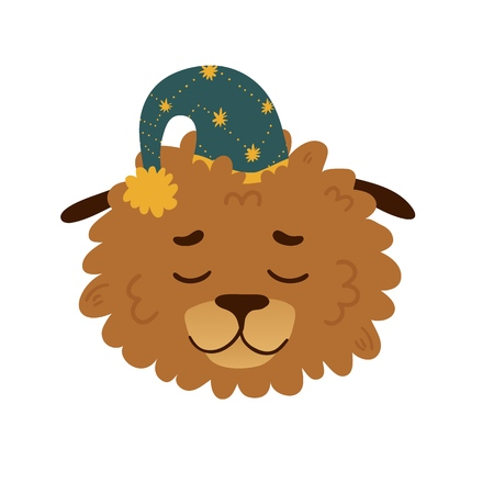 Cute avatar design with a sleeping cartoon dog in in a star cap. The poster design with a cheerful doggy for kids room. Beautiful print with a funny character puppy face and star decoration. Vector.