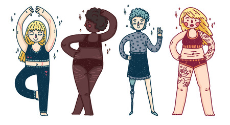 A set of different girls. Women with overweight, prosthetic legs, stretch marks, cyllulitis and scars. Poses for cute characters for body positiv poster. Feminist set of women. Vector
