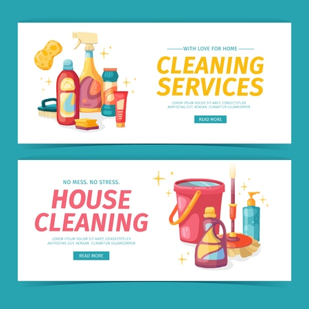 Set design banner House cleaning with cleaning products. Cartoon illustration household chemicals. Temlate for flyer clean up service. Chemicals bottle. Vector 스톡 콘텐츠 - 121165037