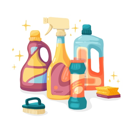 Design banner House cleaning with  cleaning products. Cartoon illustration household chemicals. Temlate for flyer clean up service.  Basket with Goods for home.  Vector. 스톡 콘텐츠 - 121165038
