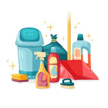 Design banner House cleaning with cleaning products. Cartoon illustration household chemicals. Temlate for flyer clean up service. Vector