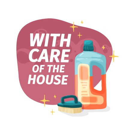 Template banner with chemical battle product for house cleaning. Layout for Cleaning service with household chemicals.  Goods for  home. Vector. 스톡 콘텐츠 - 121165041