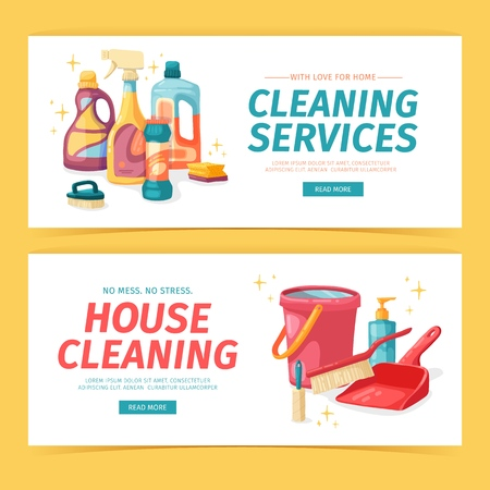 Set design banner House cleaning with cleaning products. Cartoon illustration household chemicals. Temlate for flyer clean up service. Chemicals bottle. Vector 스톡 콘텐츠 - 121165043
