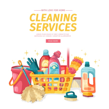 Design banner House cleaning with  cleaning products. Cartoon illustration household chemicals. Temlate for flyer clean up service.  Vector.