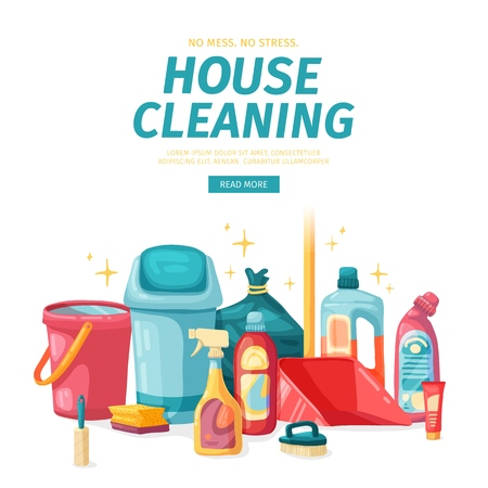Design banner House cleaning with  cleaning products. Cartoon illustration household chemicals. Temlate for flyer clean up service.  Vector. 스톡 콘텐츠 - 121165047