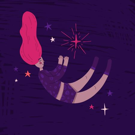 Illustration sleeping girl fly in space. Childrens Print in doodle style with cosmic star and cute character astronauts black woman in pajamas. Hand drawn design for t-shirt and cards. Vector