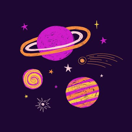 Cute children's illustration with planet and star. Template design doodle style for t-shirt or wall art. Space elements for print nursery decoration. Vector.