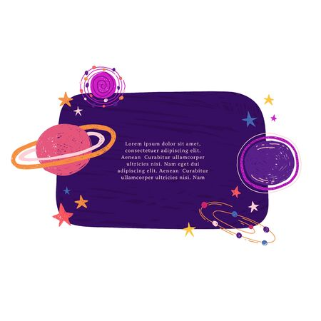 Cute template design layout with illustration of planet and stars. Banner of doodle style universe and galaxy. Frame decoration with Space elements in cartoon style . Vector. Illusztráció