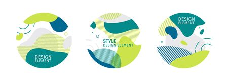 Set of abstract trendy graphic circle elements. Dynamical green color around forms and line. Gradient abstract eco banner with flowing liquid shapes. Template for natural organic design. Vector Vektorové ilustrace