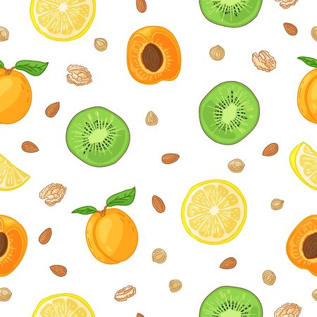 Seamless design fruit pattern. Wallpaper with organic food. Backdrop for fabric and textile design with kiwi, apricot and lemon slice. Background with nature fresh tropical fruit for recipe. Vector