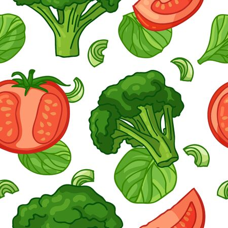 Seamless design food pattern. Wallpaper with vegetable organic food. Backdrop for fabric and textile design with tomato, broccoli, spinach. Background with nature fresh food. Vector 向量圖像