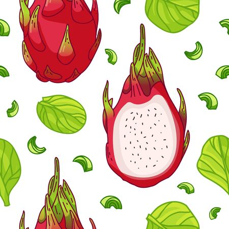 Seamless design fruit pattern. Wallpaper with organic food. Backdrop for textile design with dragon fruit, spinach and celery. Background with nature fresh fruit. Cover vegetarian nutrition. Vector.