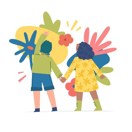 Spring and summer illustration concept with cartoon people characters. Modern background with cute flowers, leaves and abstract shape. Art for banner and t shirt. Vector.