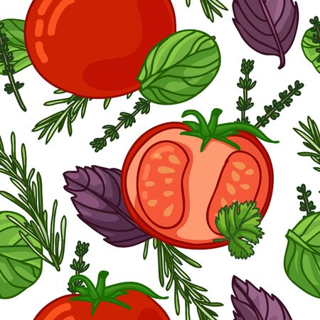 Seamless design food pattern. Backdrop with vegetable organic food. Background with tomato, rosemary, basil leaf, parsley and spinach. Wallpaper for vegetarian cafe. Healthy food cover. Vector
