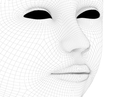 High resolution concept or conceptual 3D wireframe human female head. 版權商用圖片