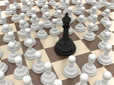 Black king surrounded by the white pawns