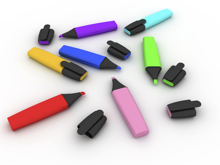 Multicolored highlighters.  on white background. 版權商用圖片