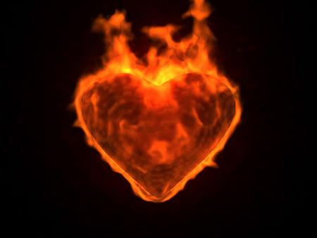 Illustration of flaming heart on black background