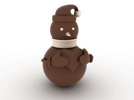 illustration of a chocolate snowman 版權商用圖片
