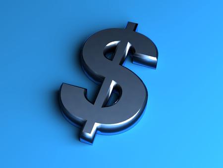 3d metal dollar symbol  on blue background