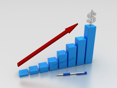 3D Graph with red arrow and dollar sign