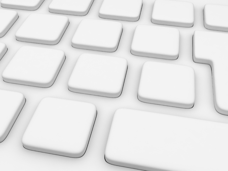 High resolution 3D white keyboard without characters