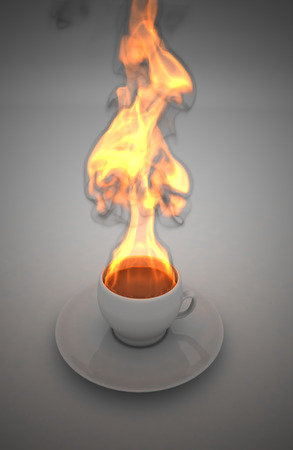 Cup of coffee with fire isolated 版權商用圖片