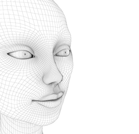 High resolution concept 3D wireframe human female head.