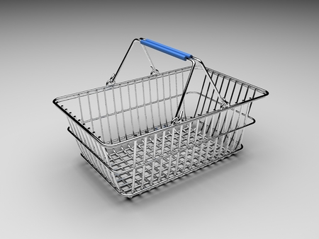 An empty metal shopping basket