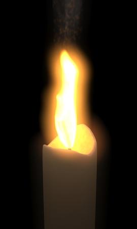 3d illustration of candle on black background