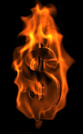 Metal dollar sign in fire with flames