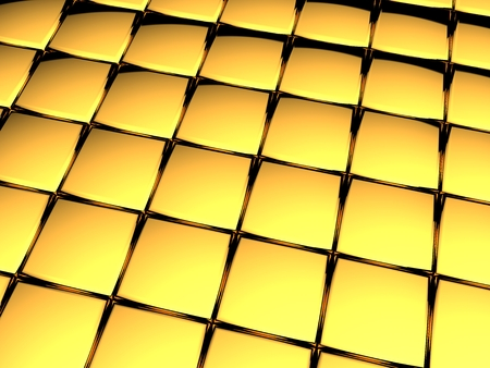 Golden cubes abstract industrial background