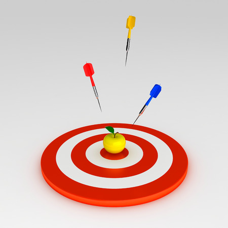 yellow apple: Target with three arrows and yellow apple