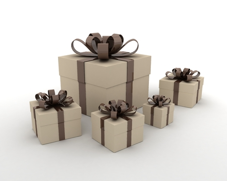Group Of Five Gift Boxes With Chocolate Ribbon