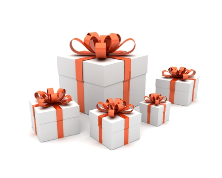 Group Of Five White Gift Boxes With Red Ribbon