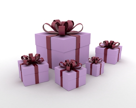 Group Of Five Gift Boxes With Cherry Ribbon