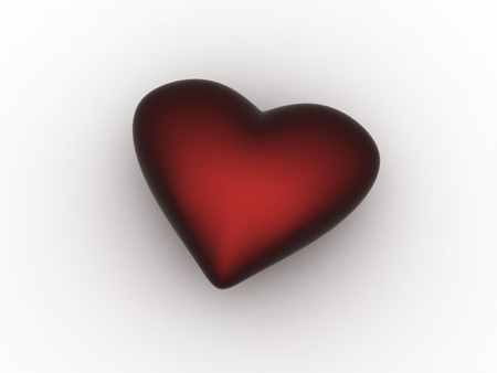 Dark Red Heart, Isolated On White Background