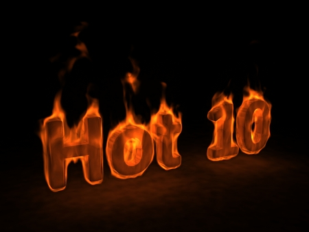 Hot ten. The burn text on a black background 版權商用圖片