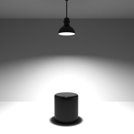 Studio background with lamp and black stand
