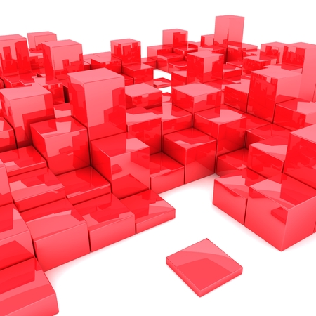 Abstract 3d illustration of red boxes on white background 版權商用圖片