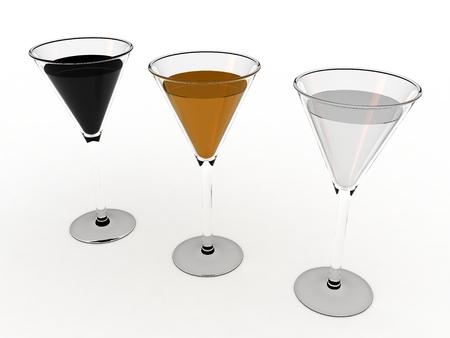 Three wine glasses on white background