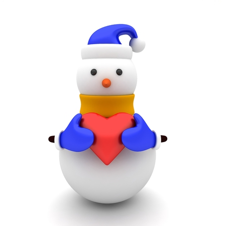 3d illustration of a snowman with yellow scarf and red heart 版權商用圖片